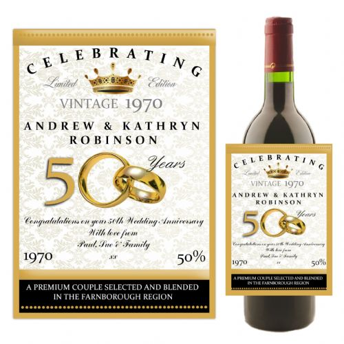 Personalised Golden 50th Wedding Anniversary Wine / Champagne Bottle Label N14